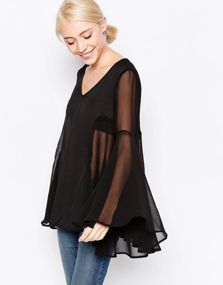 Sheer Black ASOS Bell Sleeve Top