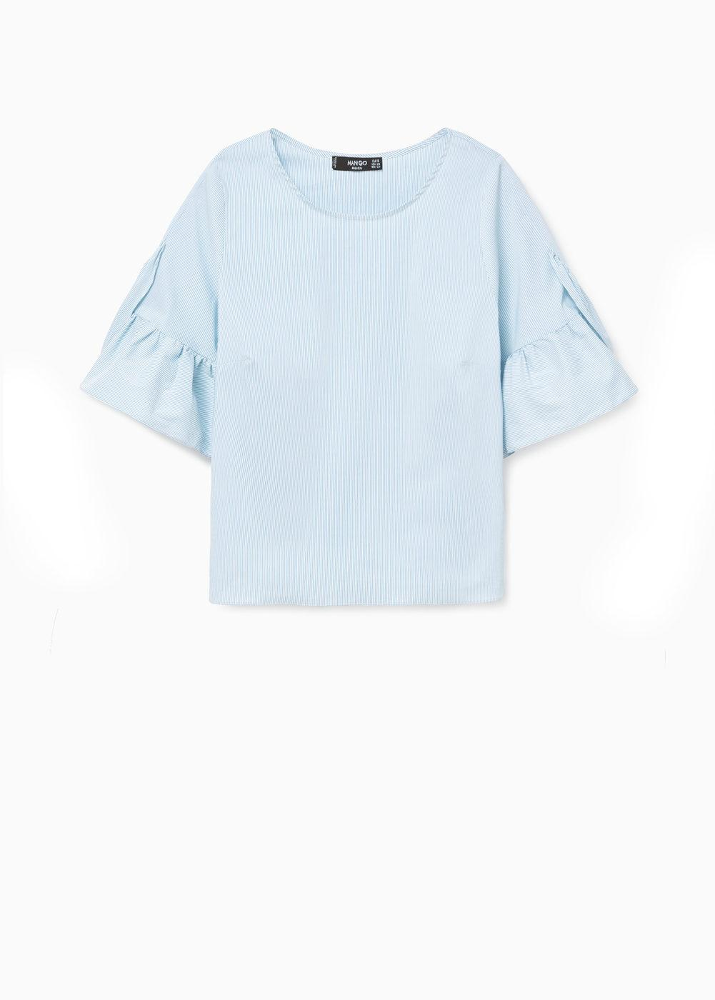 Ruffle Sleeve Baby Blue Top