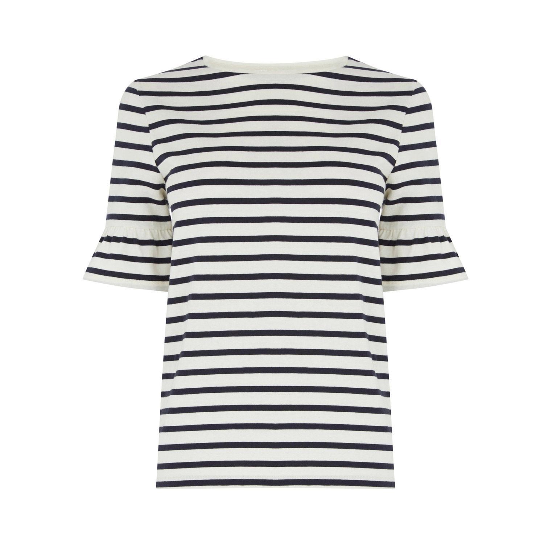Ruffle Sleeve Breton Stripe Top