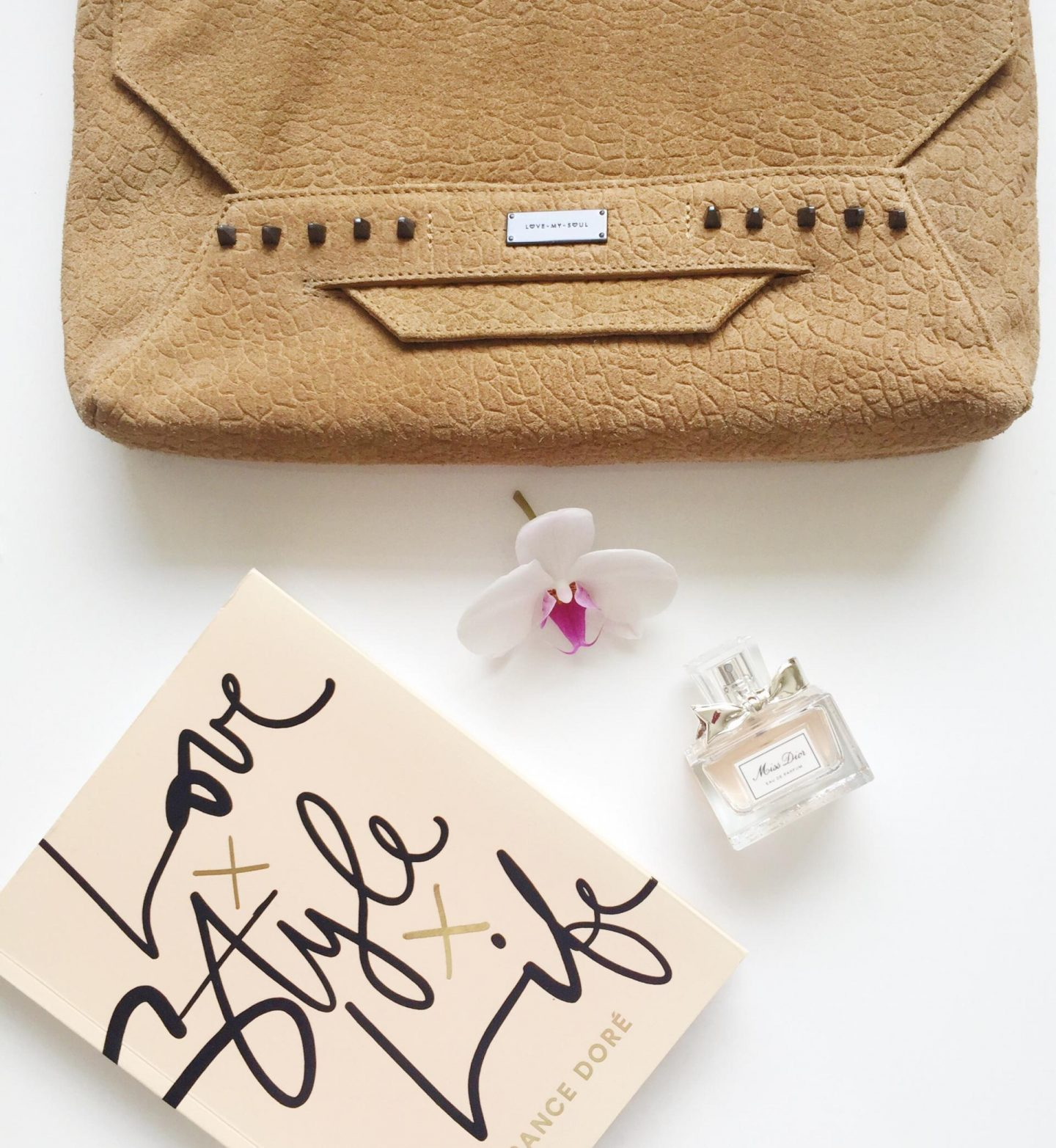 Tan Albion Clutch Flatlay Love My Soul