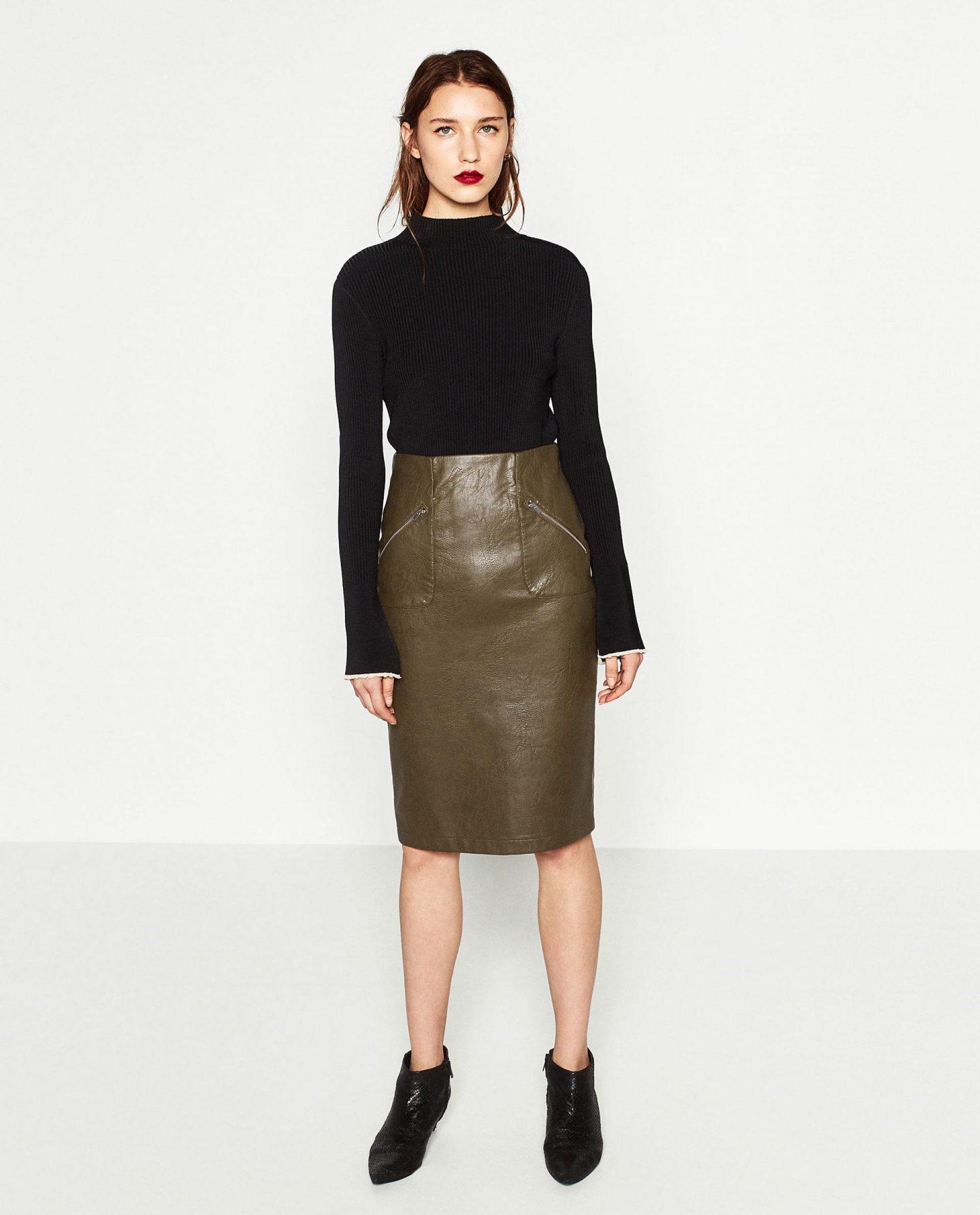 Zara khaki leather pencil skirt