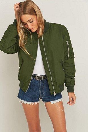 Khaki Bomber Jacket Urban Outfitters