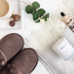 Hygge | Tea + Chocolate | Sheepskin Slippers | Herringbone blanket
