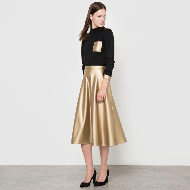 Gold Full Midi Skirt
