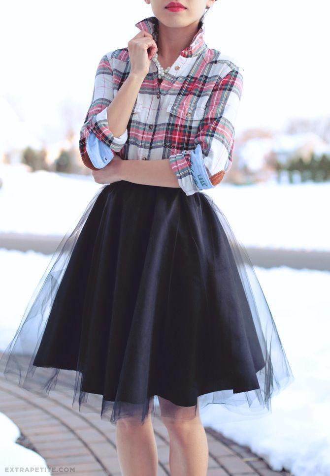 Black-Tulle-Skirt-Plaid-Shirt