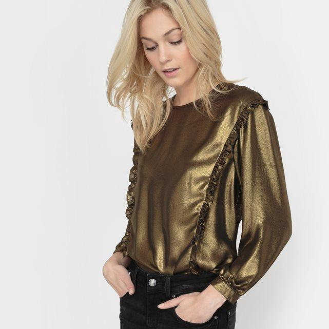 Gold Metallic Ruffle Blouse