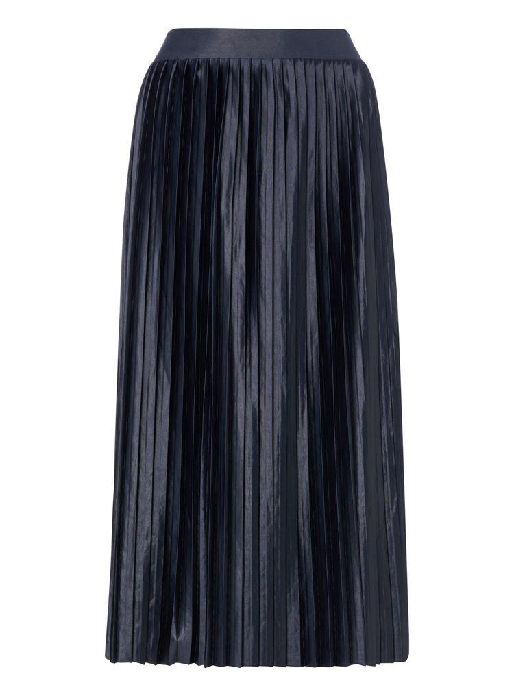 The Pay Day Edit | Navy Coated Pleated Skirt