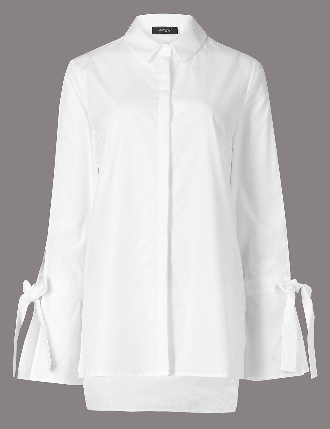 M&S white shirt with fluted sleeves and bow details