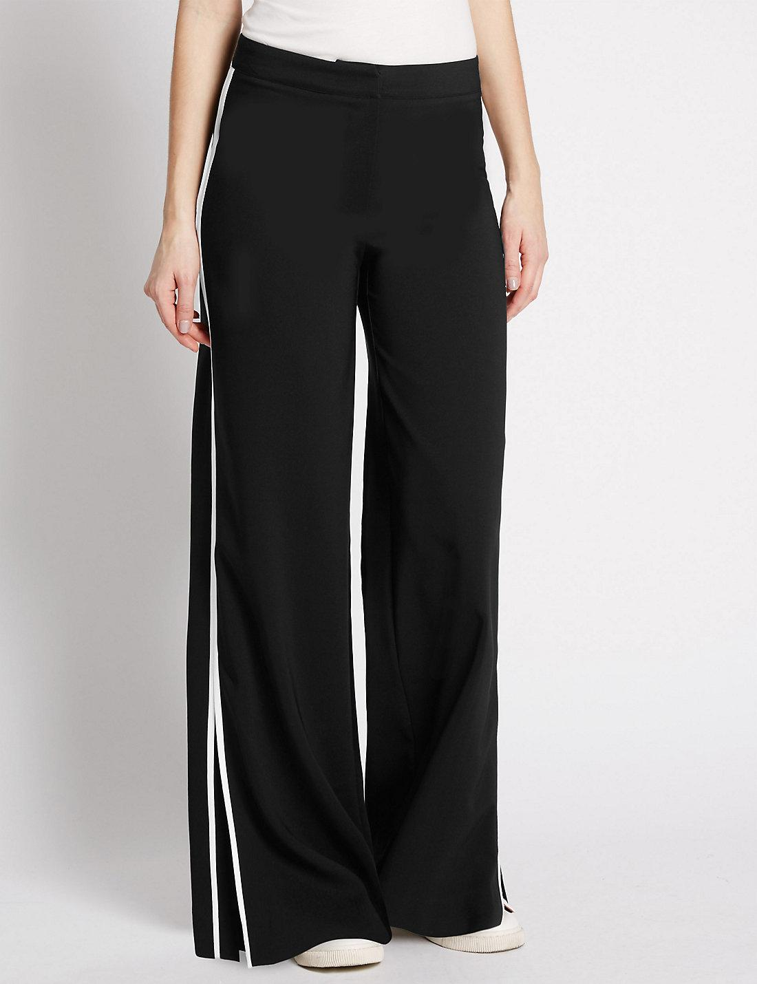 Side Stripe Flat Fronted Trousers