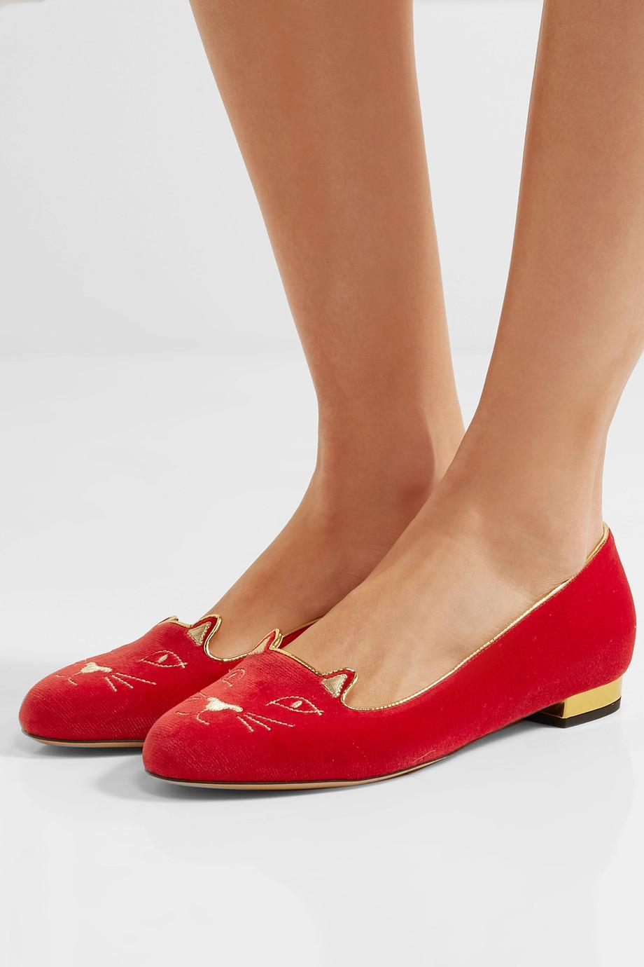 Charlotte Olympia Red Velvet Kitty Slippers | Spring trends to wear now