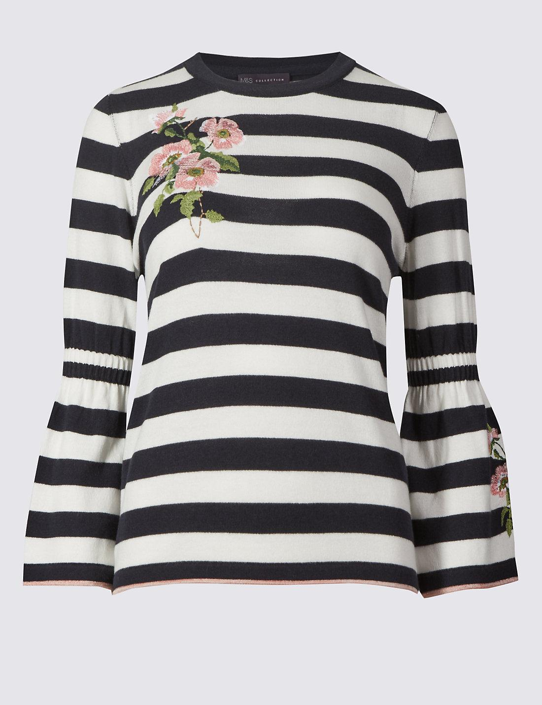 Black and White Stripe Embroidered Jumper