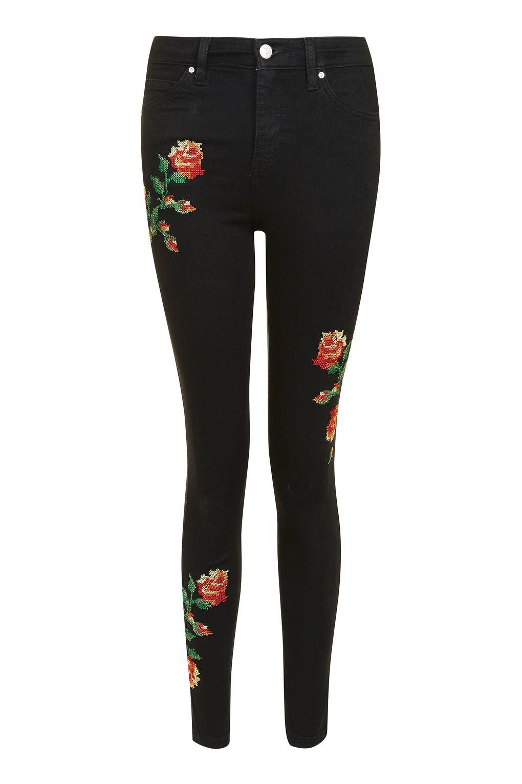 Topshop Embroidered Jamie Jeans