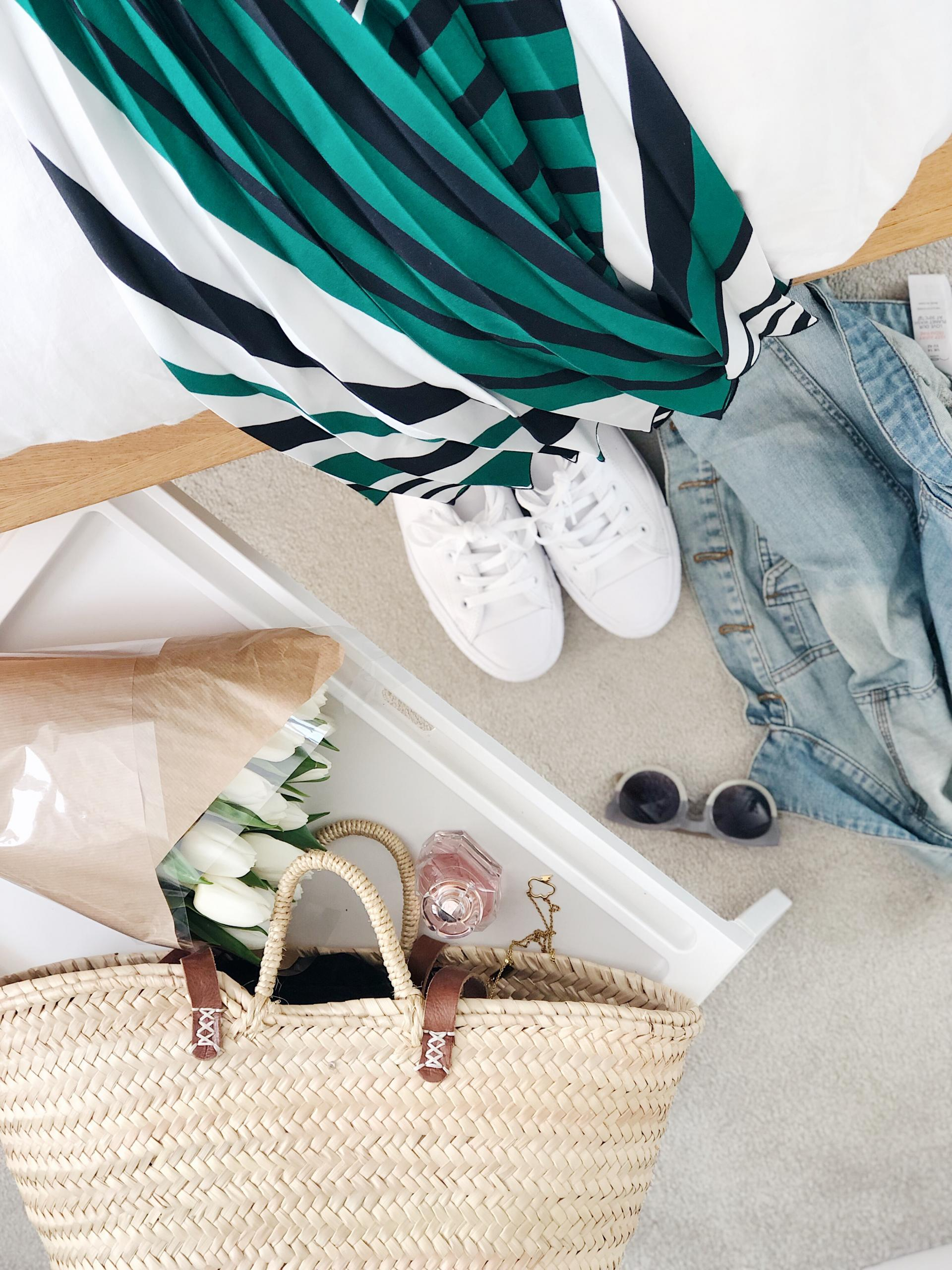 Spring Uniform | Spring Style | Basket Bag | White Converse