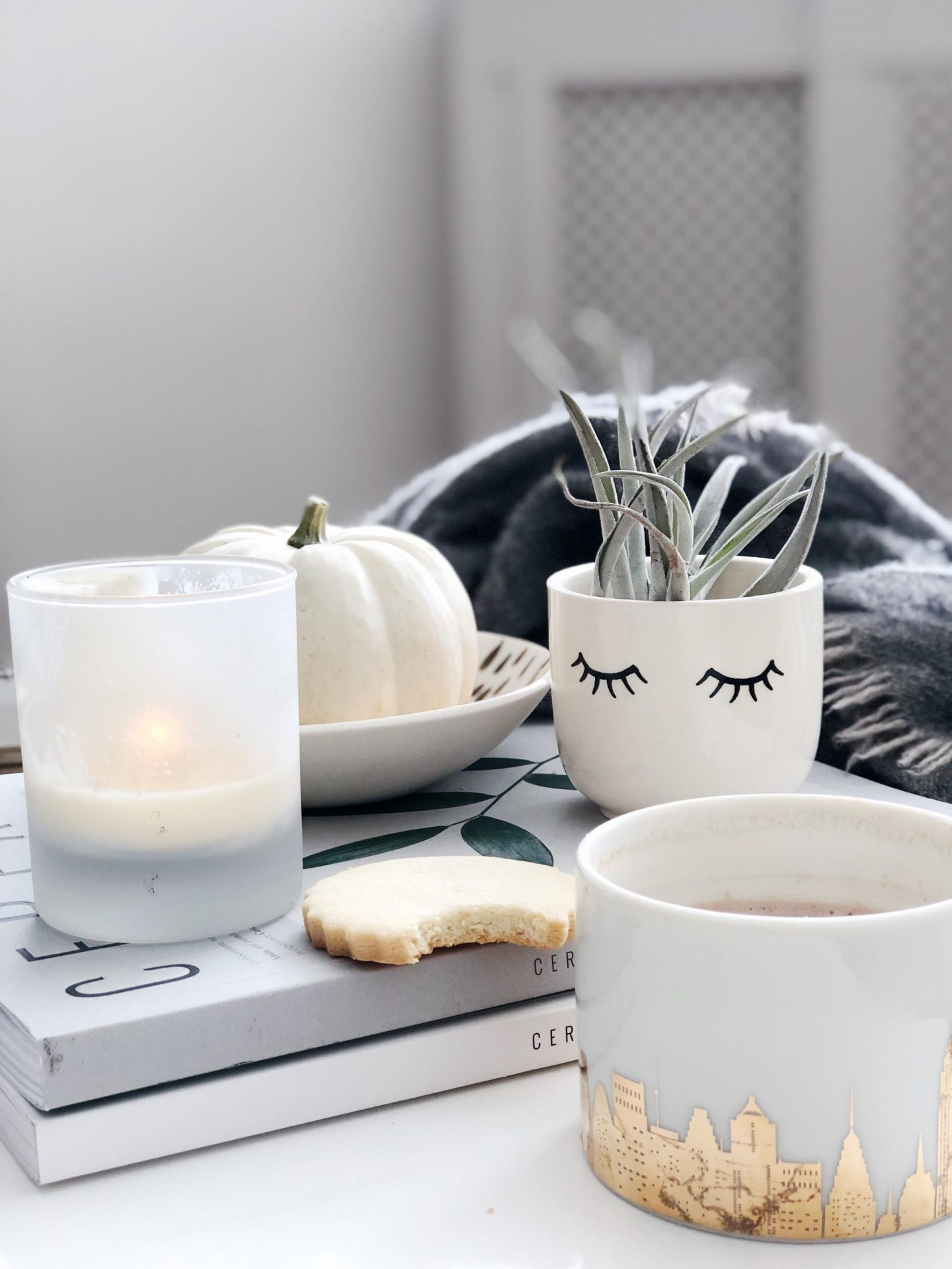 Chasing slow, choosing joy | White pumpkins cosy autumn scenes